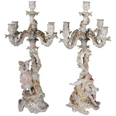 19th Century Pair of Antique Dresden Saxon Candlesticks Candlestick