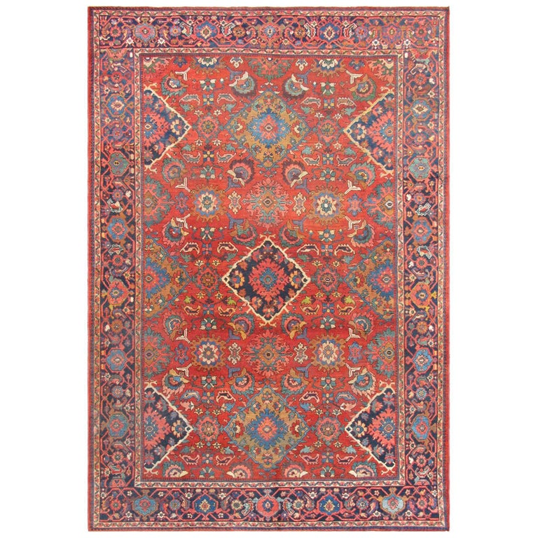 Oriental Rugs Jupiter Florida: Red Background Antique Sultanabad Mahal Rug With Diamond