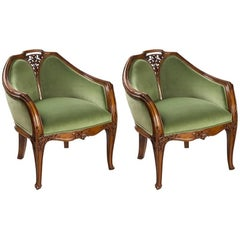 "Pair of French Art Nouveau ""Clematis"" Armchairs by Louis Majorelle"