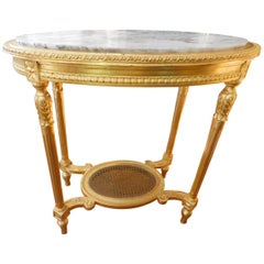 19th Century Louis XVI Style Oval Giltwood Center Table
