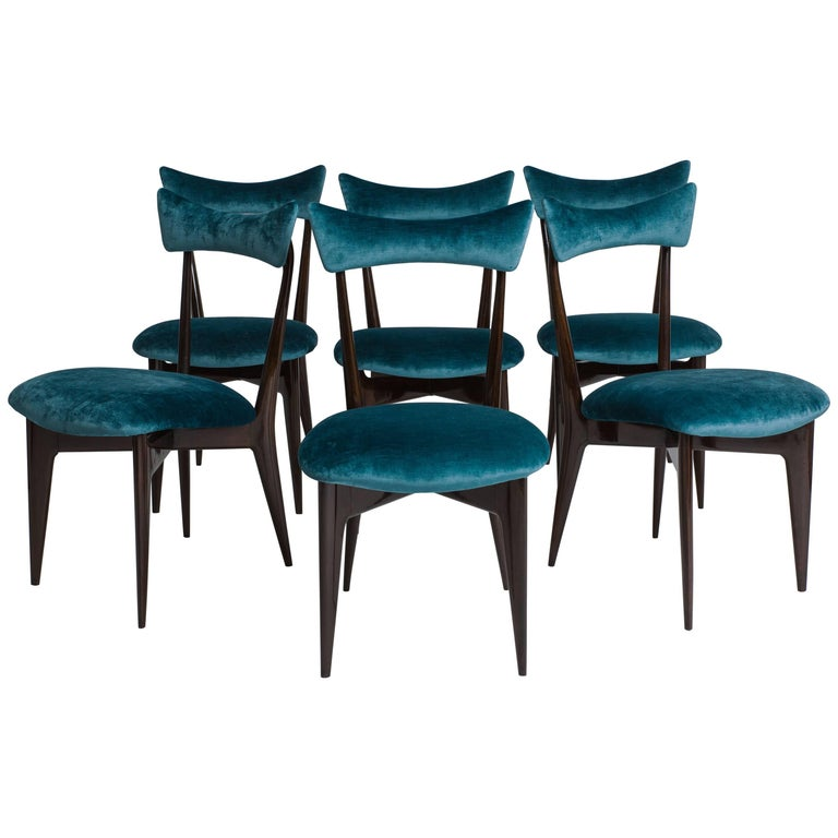 Ico & Luisa Parisi 1950s Rare Set of Six Rosewood Dining Chairs For Sale