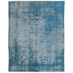 Blue Antique Oushak Rug Overdyed with Classical Design/Composition