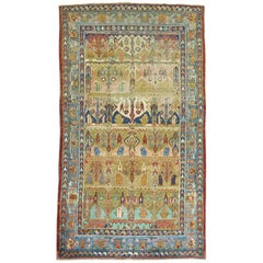 Part Silk and Wool Antique Mysterious Samarkand Khotan Rug