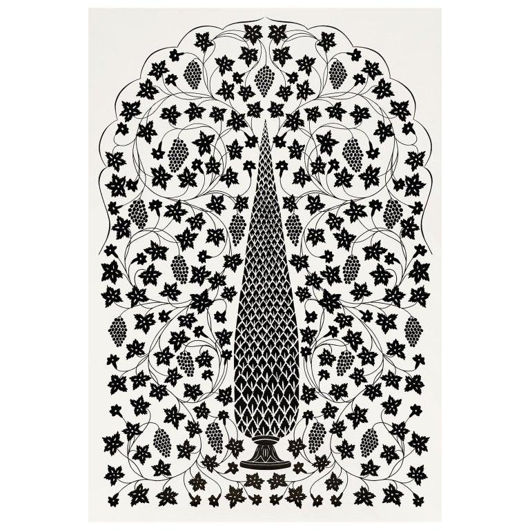 Schumacher Martyn Lawrence Bullard Mughal Panel Noir Black Wallpaper Panel For Sale
