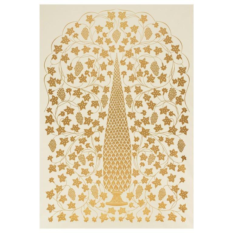 Schumacher Martyn Lawrence Bullard Mughal Panel Burnished Gold Wallpaper Panel For Sale