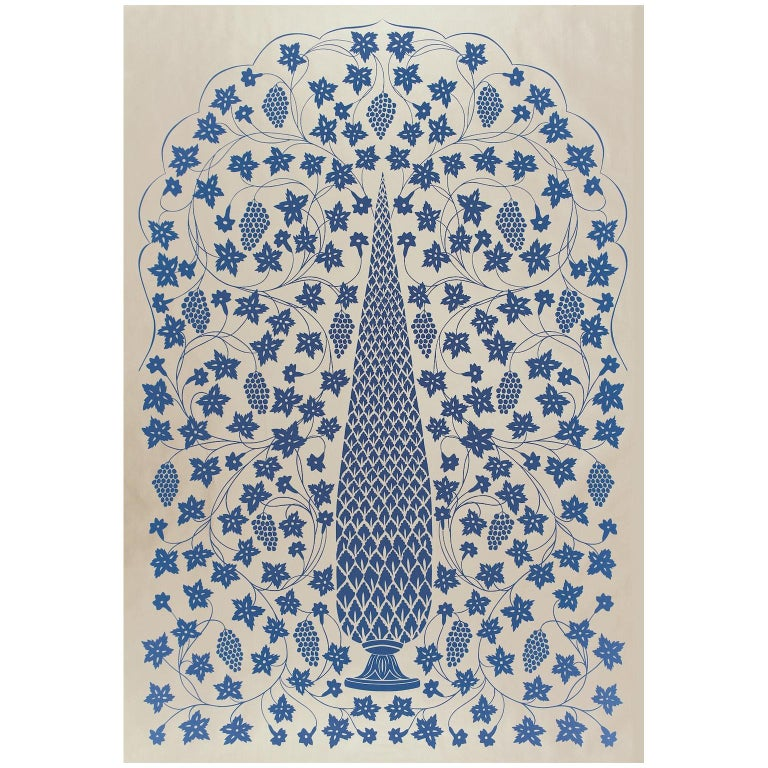 Schumacher Martyn Lawrence Bullard Mughal Panel Imperial Blue Wallpaper Panel For Sale