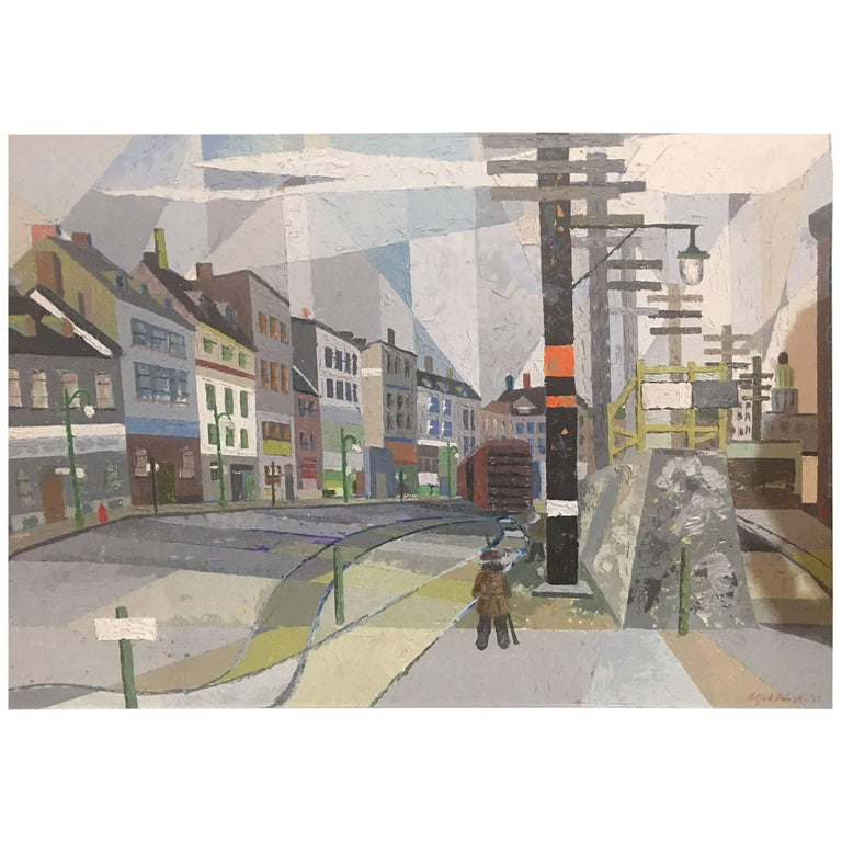 Oil on Board Montreal Street Scene Painting Signed Alfred Pinsky