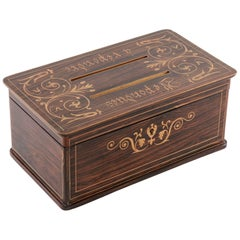 Charles X Period Visiting Card Box of Palisander Marquetry with Lemonwood Inlay