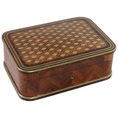 19th Century Napoleon III Period Violet Wood Box, Bronze Inlay, Satin Interior