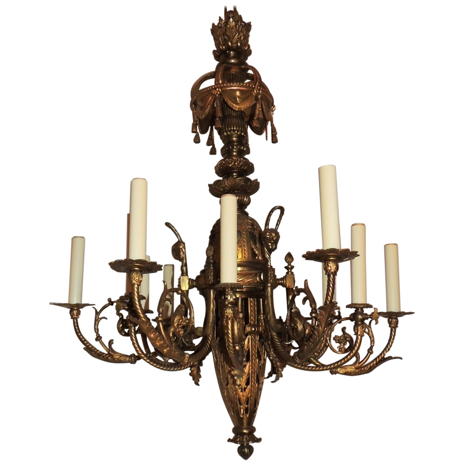 French Empire Neoclassical Doré Bronze Twelve-Light Tassel Chandelier Fixture