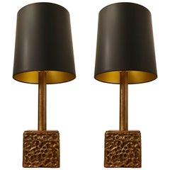 Pair of Luciano Frigerio 1970s Bronze Table Lamps