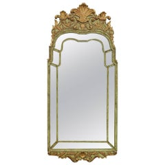 George II Style Parcel-Gilt and Green Painted Mirror