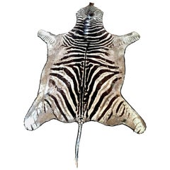 Authentic Vintage Felt Backed Zebra Hide Rug