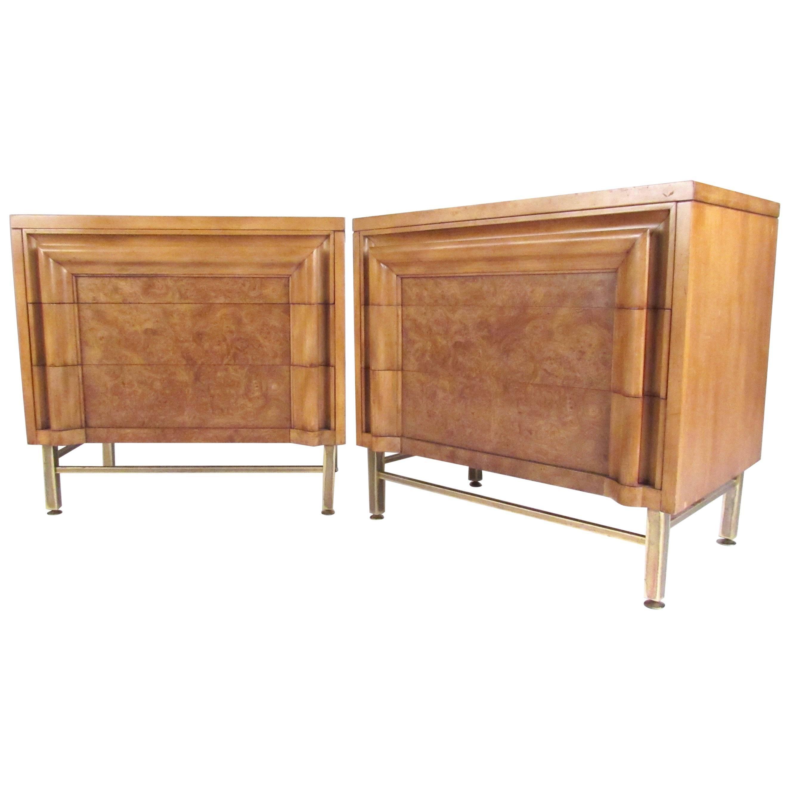 Pair of Vintage Modern Burl Wood Nightstands