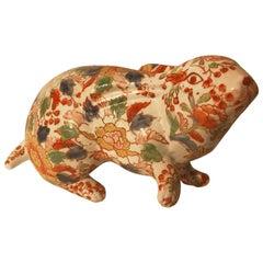 Japanese Big Old Red Scampering Rabbit Sculpture Signed