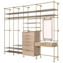 Collector's Wardrobe in Brass and Oak Shelves, Dresser, Vanity Table and Mirror