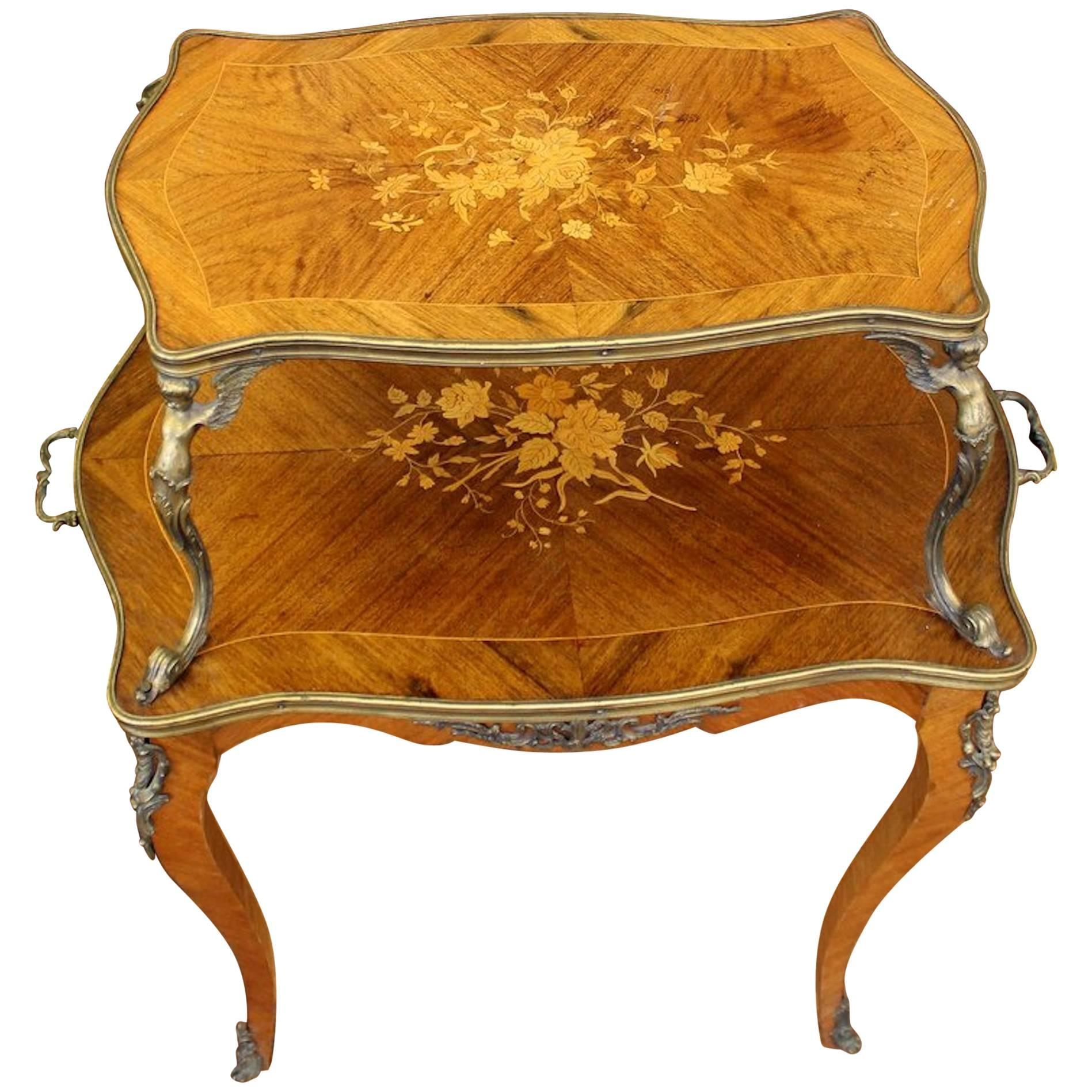 French Marquetry Inlaid Kingwood Louis XV Style Two Tier Dessert Or Tea  Table For Sale