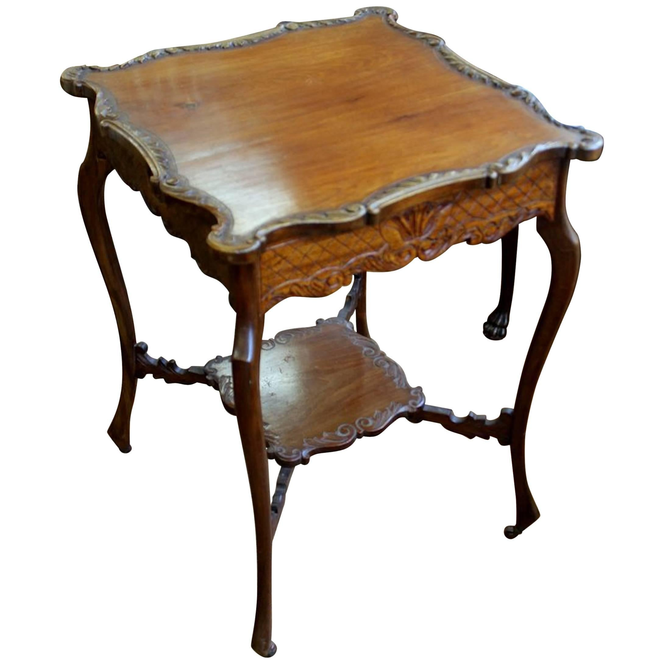 Antique English Hand Carved Walnut Square Occasional Table
