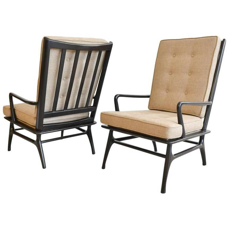 Pair of Sculpted Ebonized High Back Lounge Chairs, circa 1955