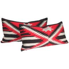Pair of Navajo Weaving Star Bolster Pillows