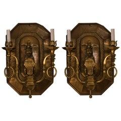 Pair of Antique Decorative Brass Wall Lights