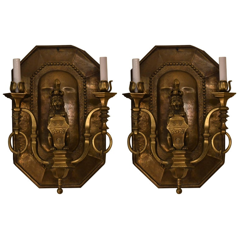 Pair of Antique Decorative Brass Wall Lights For Sale at 1stdibs