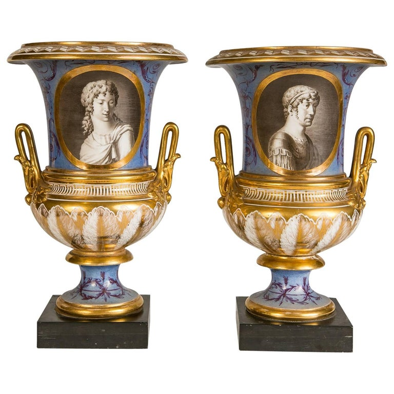 Pair of Neoclassical Portrait Vases Made in France circa 1820 1