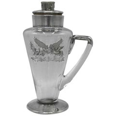 1930s Glass and Sterling Silver Decanter Carafe with Rooster Motif