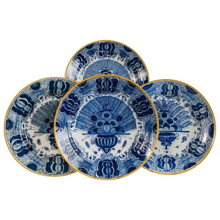 Platten Blau und weiß Delfter Gruppe von einem Dutzend 1