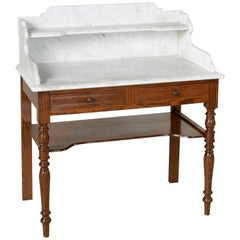 French Pitch Pine Vanity Table Work Table with Carrara Marble Top, circa 1900