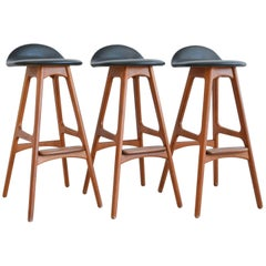 Set of Three Erik Buch Teak Barstools, circa 1965