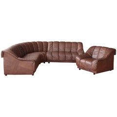1970s Genuine Leather Sectional Sofa