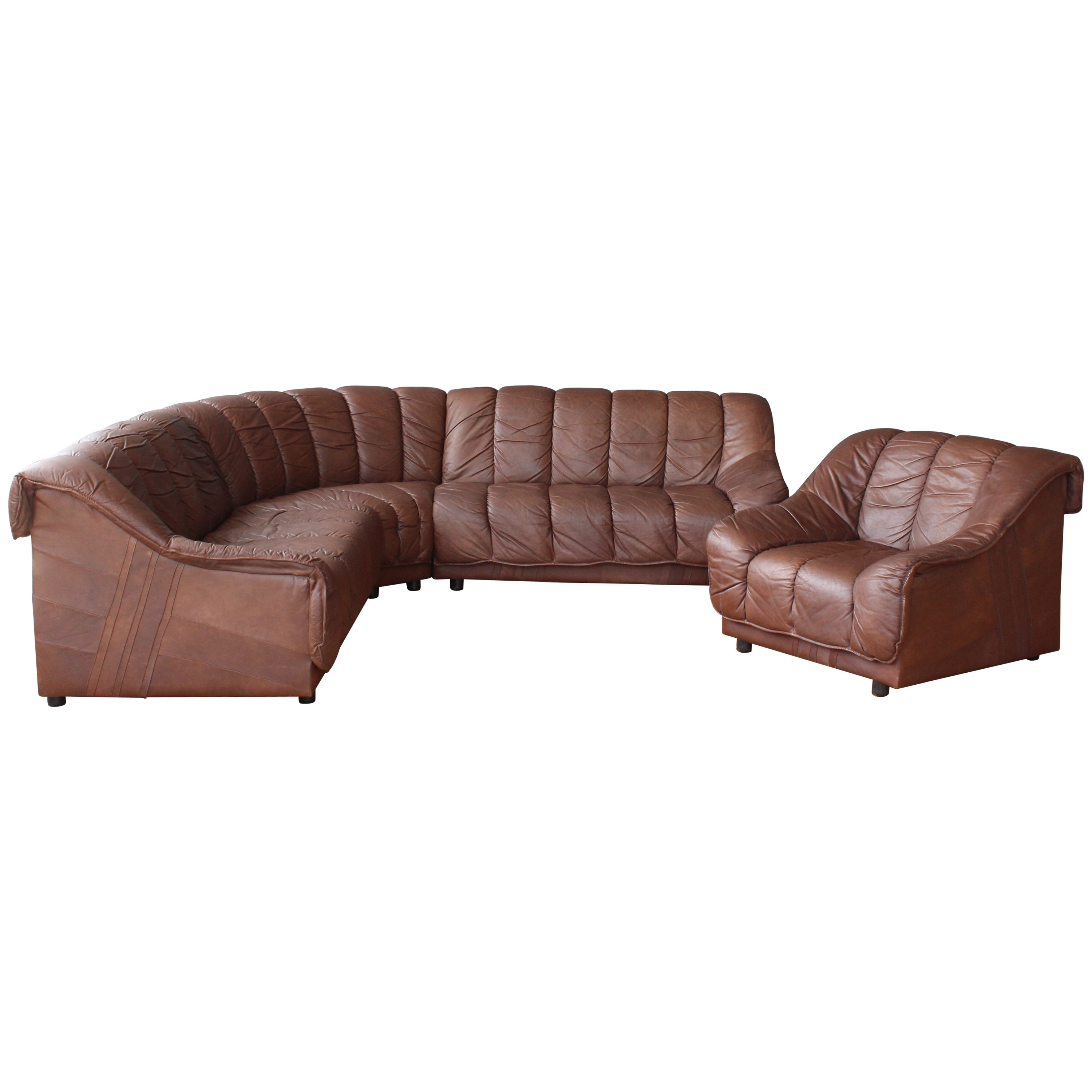 1970s Genuine Leather Sectional Sofa At 1stdibs