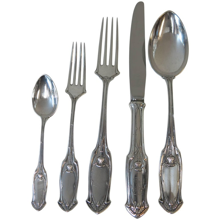 Unusual Antique German Silver Flatware Set Thistle Design