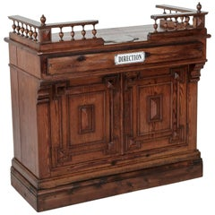 French Pitch Pine Shop Counter or Dry Bar with Spooled Gallery, circa 1900