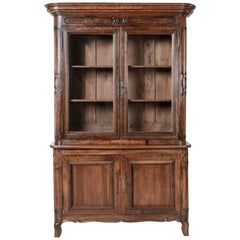 18th Century French Hand-Carved Walnut Bibliotheque Bookcase, HandBlown Glass