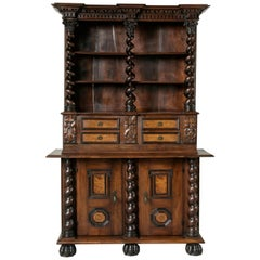 French Hand-Carved Walnut and Elm Renaissance Style Secretary-Bookcase, Dry Bar