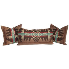 Group of Three Indian Design Camp Blanket Pillows