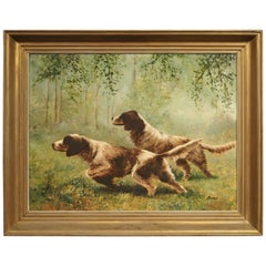 French Oil Painting by Jean Molinier, Hunting Dogs, 1900s