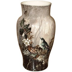 Antique Bourg-La-Reine Barbotine Vase, France, circa 1850