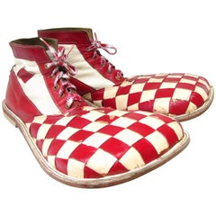 Vintage Red and White Check Clown Shoes