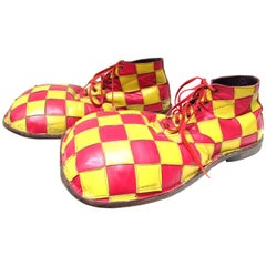 Vintage Red and Yellow Check Clown Shoes