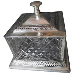 Silver and Glass Box, Vanity Box, Pressed Glass and Silver Box