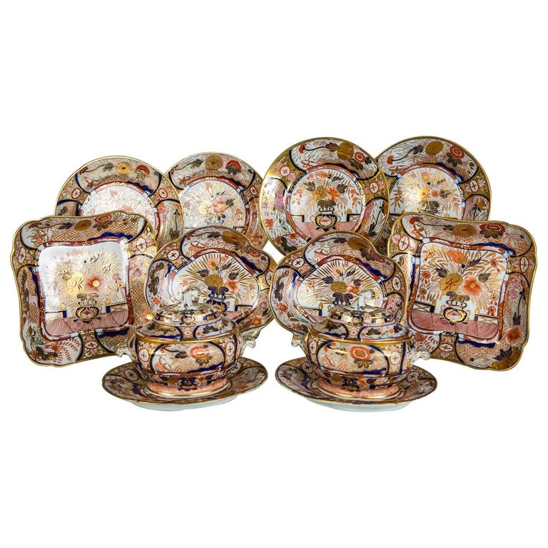 """Antique Imari Porcelain Dishes in the Coalport """"Admiral Nelson"""" Pattern"""