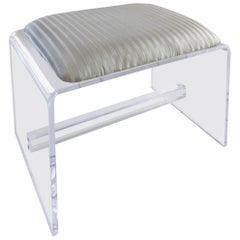 Custom-Made Lucite Waterfall Bench with Upholstered Seat Cushion