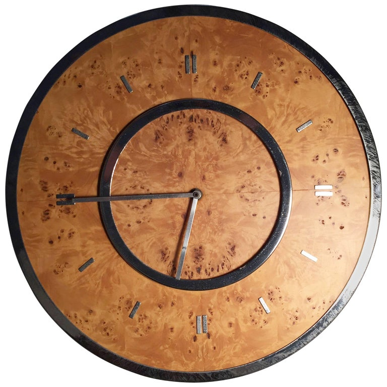 Vintage Chrome and Burl Wall Clock by Raymor