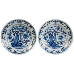 Pair of Blue and White Delft Chargers Made in Netherlands circa 1800