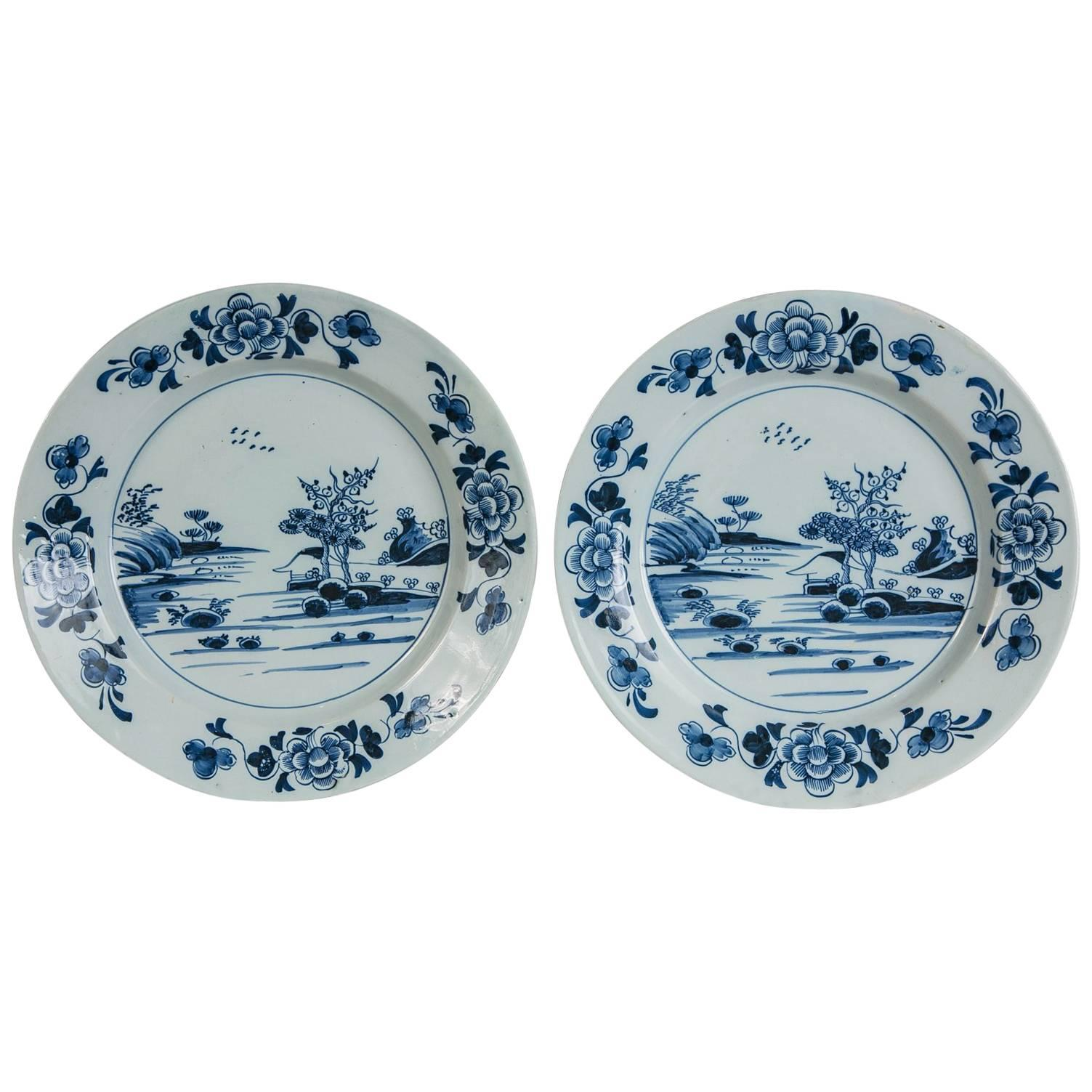Pair Delft Blue and White Chargers Made circa 1770