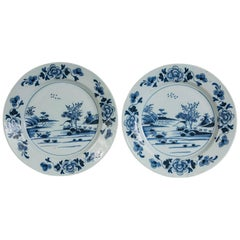 Pair Blue and White Delft Chargers