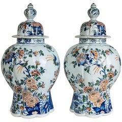 Antique Delft Ginger Jars Polychrome Painted